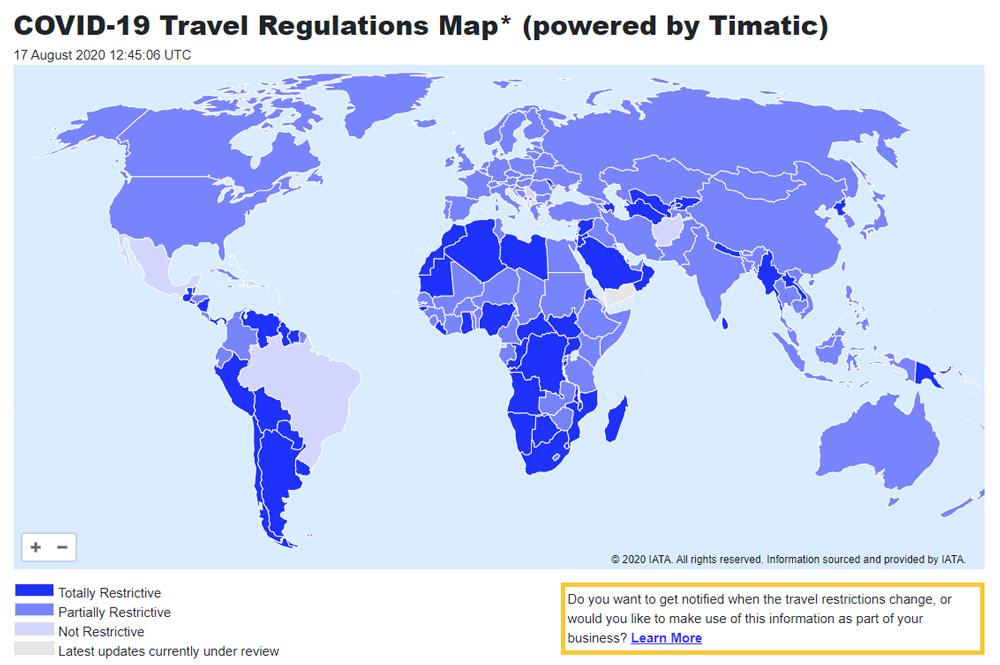 covid-19-карта-пътуване-ограничения-света